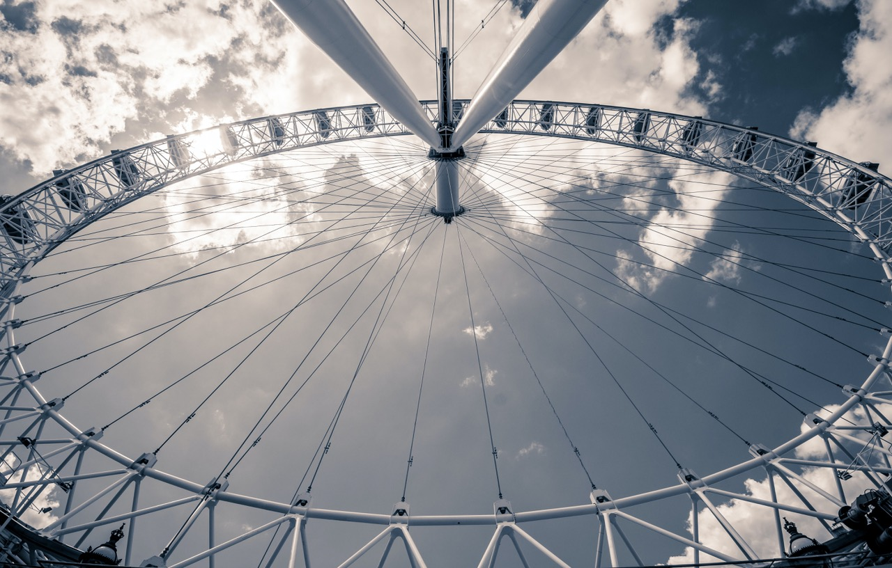 Draaiend reuzenrad dat circulariteit als een continu processen uitbeeldt.